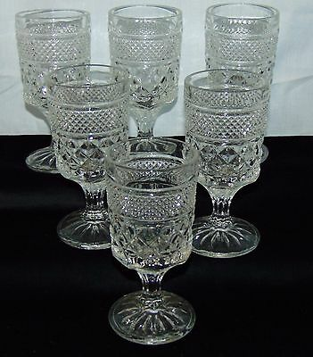 """6 Anchor Hocking WEXFORD  CRYSTAL*  5 1/4"""" WINE GOBLETS*"""