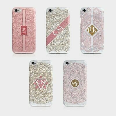 Personalised Initials iPhone Samsung Hard Phone Case Mandala Glitter Rose Gold