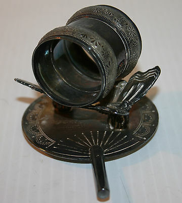 Victorian Silver Plated Napkin Ring Spread Wing Butterflies Meriden B Company #