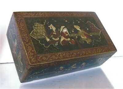 ANTIQUE 19th. cent. PERSIAN QAJAR HAND PAINTED WOODEN BOX