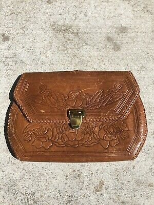 Vintage Hand Made Tooled Leather Mexico Waist Belt Bag Clutch Purse Wallet