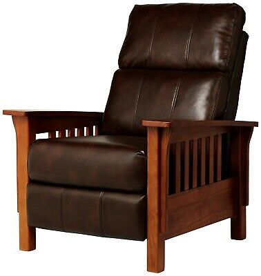 Oak Mission Craftsman Shaker Leather-Like Morris Recliner - New! - Made in USA!