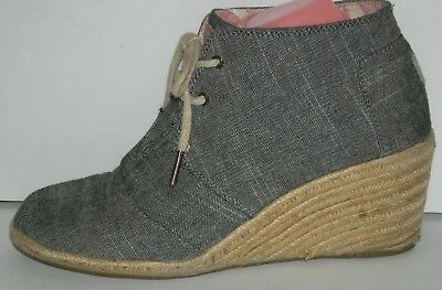 12db8a460a3 TOMS BLACK CHAMBRAY Desert Wedge Booties Size 9.5 -  29.95