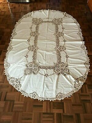 Vintage ecru linen floral embroidery battenburg lace oval tablecloth 240 x 155