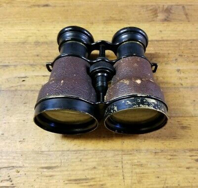 RARE Antique Brass & Leather French Theater Binoculars Opera Glasses • Vintage