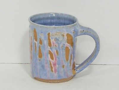 Pottery Hand Made Wheel Thrown Coffee Mug Blue Pink Drip Glaze w/Initials EUC