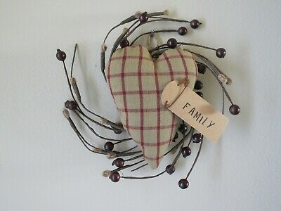 Handmade Primitive Heart on Wreath wall hanging