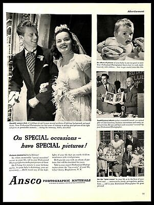 1948 Ansco Photographic Materials Vintage PRINT AD Camera Pictures Wedding 1940s