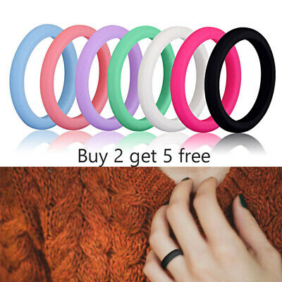 1PC Women's Medical Grade Silicone Wedding Ring Rubber Engagement Band Size 4-8
