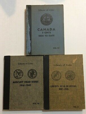 Library of Coins #10 Mercury dimes, #13 Barber quarters, #61 Canada 5 cents,