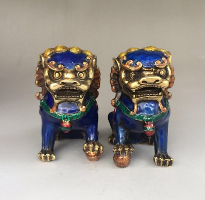 Chinese  folk art old A Pair  Chinese Cloisonne Copper  Statue - Lion g01