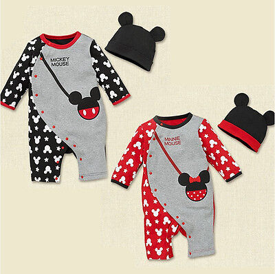 Toddler Baby Romper Jumpsuit Bodysuit + Hat Kids Boys Girls Mickey Clothes Sets