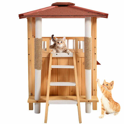 Indoor Cat House Outdoor Pet Shelter Roof Condo Wood Steps Balcony Puppy Stairs