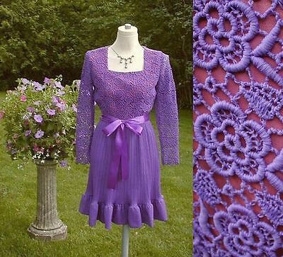 Vintage 60s Purple Dress with Lace Bodice and Crystal Pleated Skirt  S/M