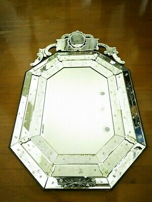 """Vintage Authentic Venetian Triple Beveled Octagon Etched Glass Mirror 45"""" by 28"""""""