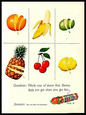 1948 Life Savers Fruit Flavors Hard Candy Vintage PRINT AD Bananas 1940s