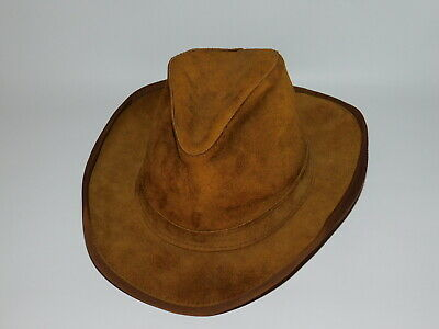 2a1ce0045c55d1 Vtg SKULLYS by HENSCHEL St. Louis 100% Leather Brown COWBOY HAT Made in USA
