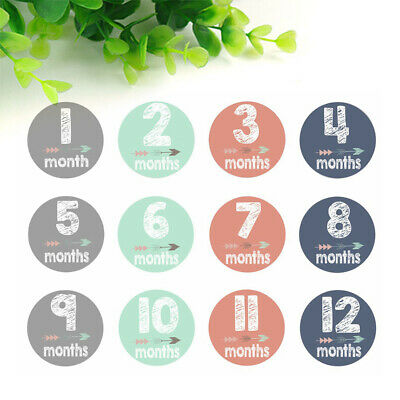 24pcs Baby Pregnant Women Monthly Photograph Stickers Month 1-12 Milestone Props