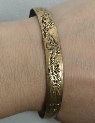 "7.75"" Antique Petite Brass Etched Asian Ancient Chinese Dragon Cuff Bracelet"