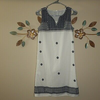 1fb45e1768 Beach Lunch Lounge Womens White Blue Embroidered Sleeveless Shift Dress Size  4