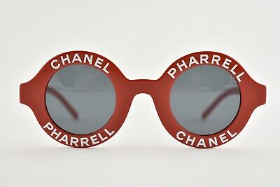 eae30f1377 Chanel X Pharrell 19D Red White Logo CC Round Circle Sunglasses Rare Capsule