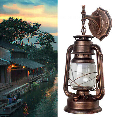 Vintage Wall Light Fixture Rust Lantern Outdoor Porch Lamp Wall Mounted Light US
