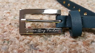 Greenbay Packers Ladies Skinny Leather Belt Rhinestone Fancy Glitz Bling M L XL