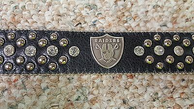 Oakland Raiders Black Leather Belt Rhinestone Fancy Style Glitz NFL Bling L XL