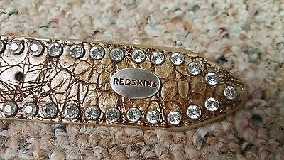 Washington Redskins Beige Womens Leather Belt Rhinestone Glitz Bling M L XL XXL