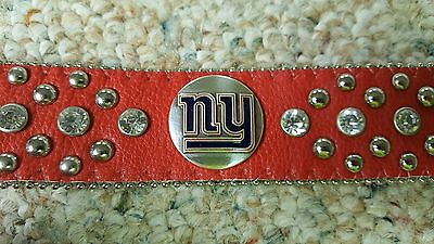 New York Giants Red Leather Belt Rhinestone Fancy Style Glitz Bling S M L XL XXL