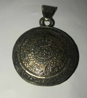Sterling Silver Mayan Calendar Zodiac Sign Medallion Pendant Two Sided Ap 2inch
