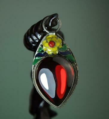 Collect China Cloisonne Tibet Silver Inlay Zircon Ruby  Flower Pendant A02