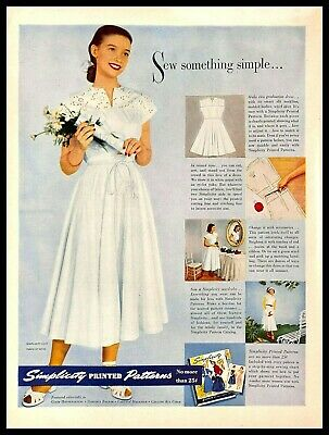 1948 Simplicity Printed Patterns Vintage PRINT AD Girl White Graduation Dress