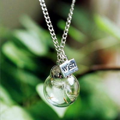 Real Dried Flower Dandelion  Lucky Glass Wishing Bottle Pendant Necklace ZH