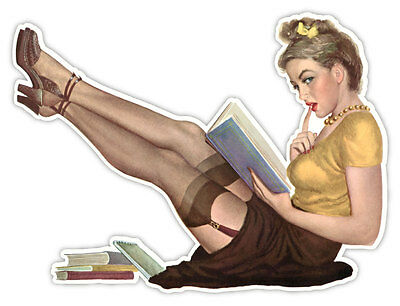 "Pin-up art retro sexy pin up pinup girl reading sticker decal 5"" x 4"""