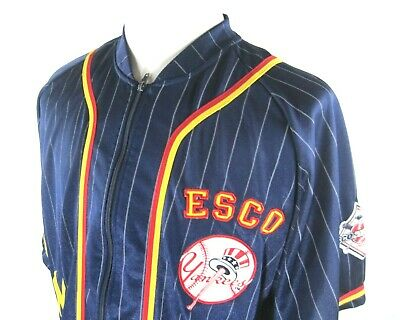 huge discount 1196d c3940 WILLIE ESCO NEW York Yankees Jersey Shirt Mens L Large Navy Blue Pinstripe