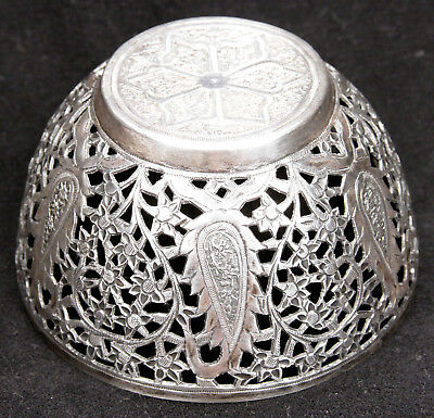 Antique Persian Chased Pierced Silver Bowl Paisley Qajar Middle East Sterling