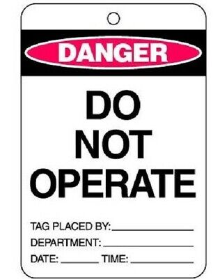 Brady 'CAUTION DO NOT OPERATE' LOCKOUT TAG 150x100mm Cardstock, Yellow/Black