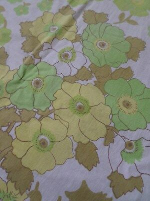 Retro Vintage Green Brown And White Floral Cotton Sheet Fabric..