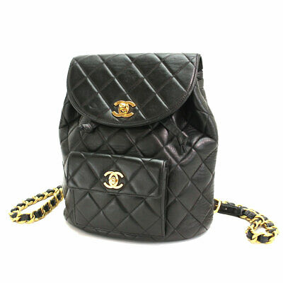 10a640acafed CHANEL Matelasse Chain Back Pack Leather Black Vintage Purse 90067494