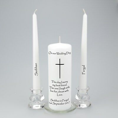 Personalised Wedding Unity Candle with a simple cross