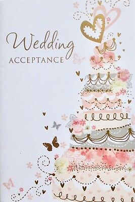 Wedding acceptance small greetings card, respond to invitation, cake, brand new