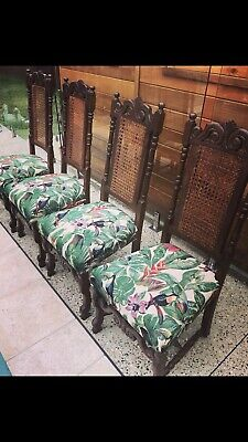 4 Antique Jacobean Barley Twist Vintage Dining Chairs