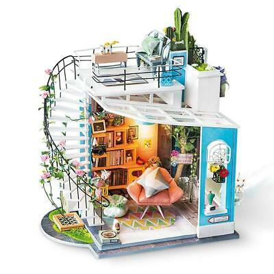 ROBOTIME Modern Dollhouse Loft DIY House with Furniture LED Gift for Girlfriend