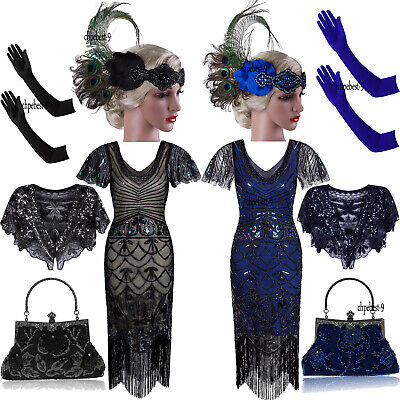 Vinatge Art Deco 1920s Flapper Dresses Gatsby Wedding Party Formal Evening Gowns
