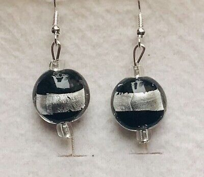 Stunning  Silver lined Black Murano  Glass Drop Earrings Version 1