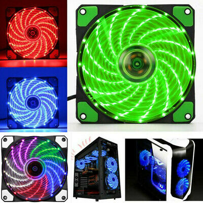 120mm 2Pin 15 LED Light Neon Quite Clear Fans PC Computer Case CPU Cooling Fan~