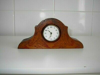 Hand Made Timber Burl Alarm Mantel Clock