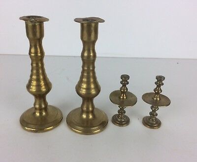Vintage Two Small Pairs Of Brass Decorative Candlesticks Drip Trays