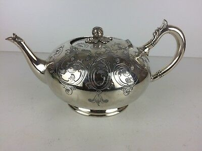 Vintage Walker & Hall Floral Etched Design Silver Plate Tea Pot